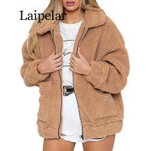 Laipelar Women Faux Fur Jacket Fluffy Teddy Bear Fleece Fake Fur Coat Zip Pocket Long Sleeve Casual Streetwear Winter Femme drawstring zip pocket faux fur hooded flocking jacket