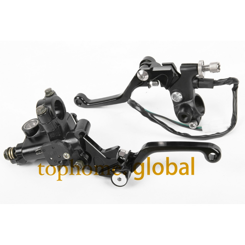 7/8 New CNC Brake Master Cylinder Pressure Switch Reservoir Levers Dirt Pit Bike Set For KAWASAKI KX125 2006-2007 2008 Black