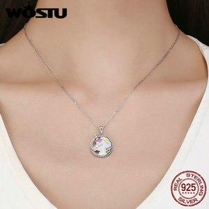 Image 2 - WOSTU Heißer Verkauf 925 Sterling Silber Bunte Licorne Anhänger Choker Halskette Für Frauen Mädchen Schmuck Hochzeit Geschenk CQN266
