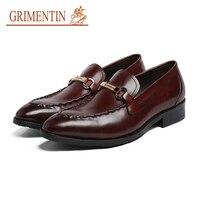 GRIMENTIN Fashion European Mens Dress Shoes Genuine Leather Black Brown Wedding Business Office Slip On Male