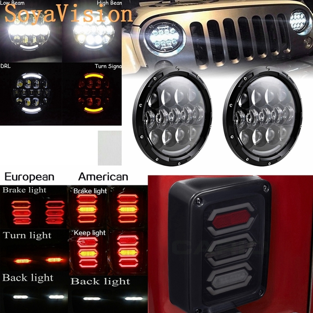 For Jeep Wrangler Jk 2007 2016 7 Inch 105w Round Led Headlight Drl Tail Lights Rear Brake Reverse Lamp