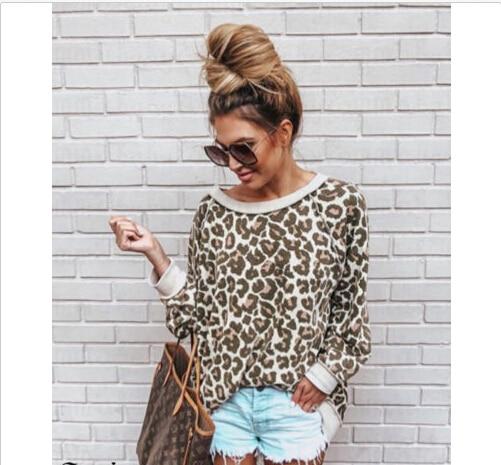 Pulóver Suelta Leopard Larga Moda Verano Tops Casual Manga Ropa Señoras Mujer Blusa Camisa Marrón xqPPwAR
