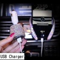 Chargeur de voiture en cristal double chargeur USB   Pour téléphone portable  adaptateur de Charge rapide Ipad  support de voiture pour téléphone