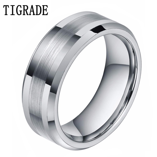 tungsten high comfort bands com amazon carbide polish ring fit gold wedding rings center dp rose grooved
