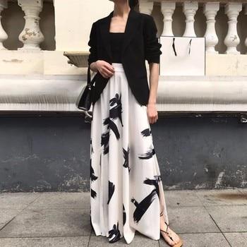 TWOTWINSTYLE Print Split Skirt Ladies High Waist Elastic Large Size X Long Elegant Skirts Female 2019 Spring Summer Tide Clothes 4
