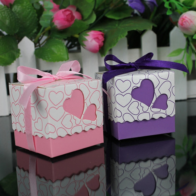 Wedding Gift Packaging Candy Box Bags Ribbon Small Paperboard Heart Boxes Favor