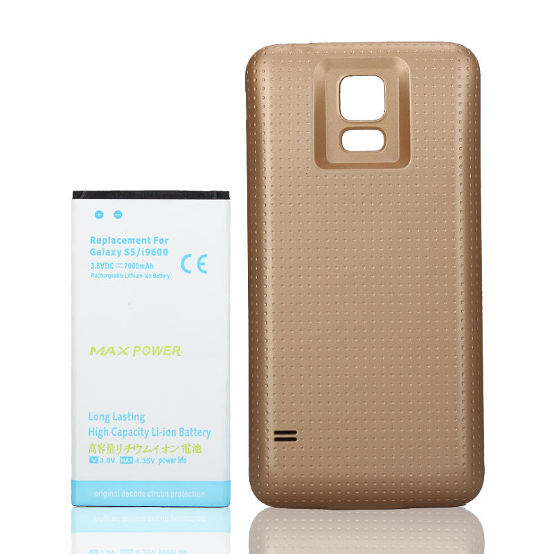 for Samsung Phone 7000mAh Extended Backup Battery + Gold Back Cover Case for Galaxy S5 i9600 Cell Phone Replacement Batteria
