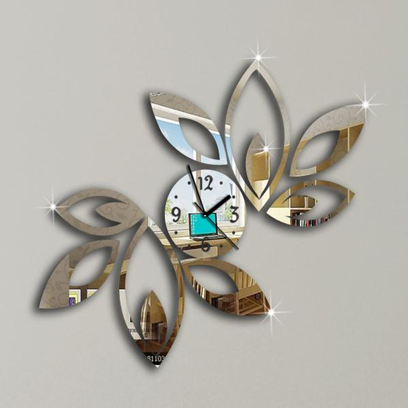 2019 New Clock On Wall Home Decor Multicolor LeaveAcrylic Hot Sale S Mirrored Design,3d Watch Living Room,unique Gifts