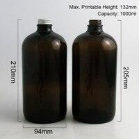 2pcs 1000ml Large Refillable 33 Oz Amber Boston Round Glass Bottles With Silver Aluminum Cap 1000cc