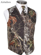 Airtailors Classical Groomsmen Suit Vest Self-Covered Buttons Camouflage Wedding Vests With Satin Back Slim Waistcoat(Vest+tie)