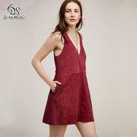 Sexemoi Winer Luxe Suede Sleeveless Dress V Neckline Solid Suede Joker Mini Dress Autumn Suede Fashion