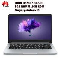 HUAWEI Honor MagicBook ноутбук 14 дюймов оконные рамы 10 Pro Intel Core I7 8550U 4 ядра 1,8 ГГц 8 Гб оперативная память 512 SSD ноутбуки