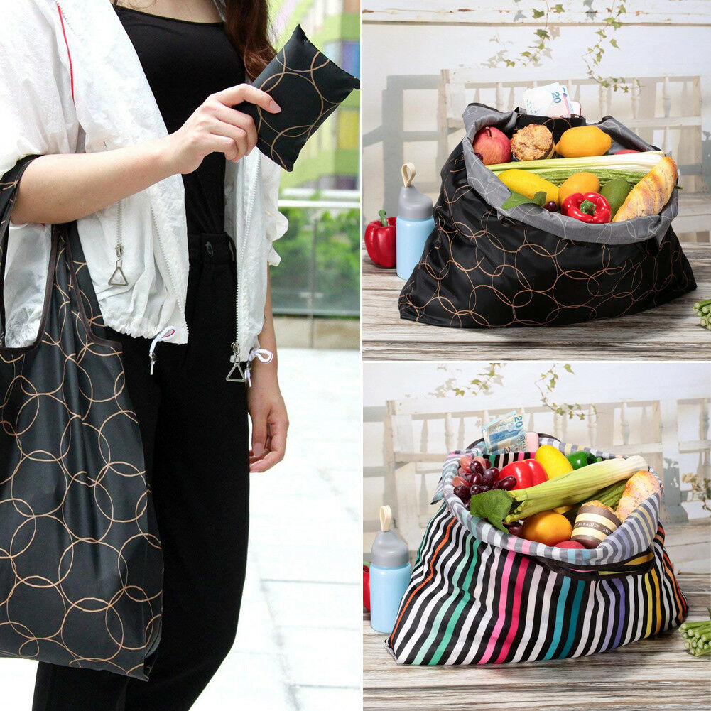 Reusable Fold Away Tote Shopping Bag Clip Eco Friendly Foldable Case Travel New