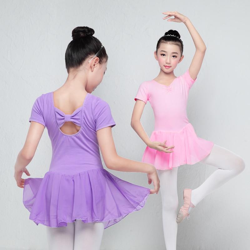 Children Long/Short Sleeve Ballet Leotard Girls Kids Cotton Dance Training Dress Chiffon Skirted Leotard