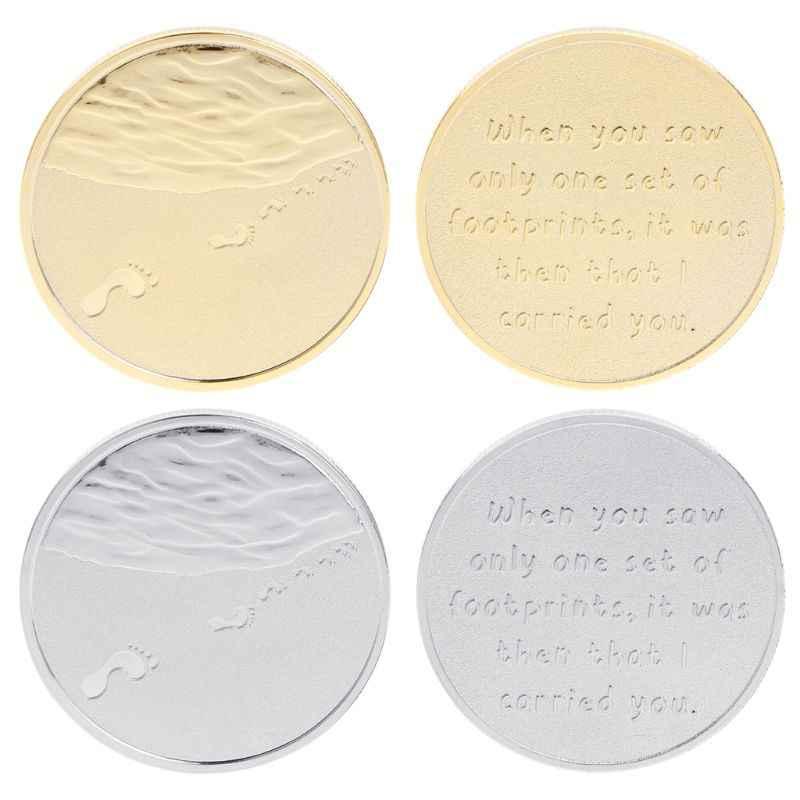 Herdenkingsmunt Voetafdruk Familie Ouder Kids Sea Souvenir Collection Munten Memorial Art Gifts Ronde Legering Collectible Goud