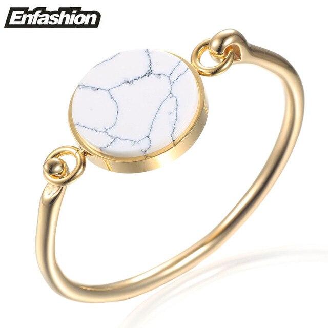 Enfashion Circle Turquoise Cuff Bracelet Bangle Noeud armband Rose Gold Plated Bracelets For Women Bracelets Bangles Pulseiras