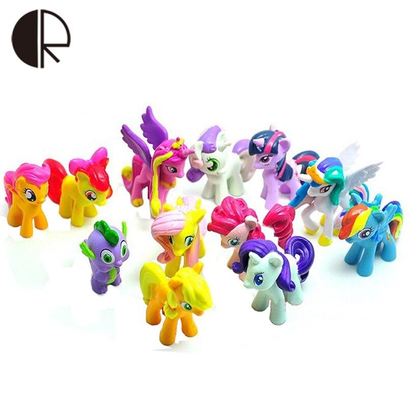 12 Pcs Lote Bonitinho Cavalo Conjuntos Lps Brinquedos Para O