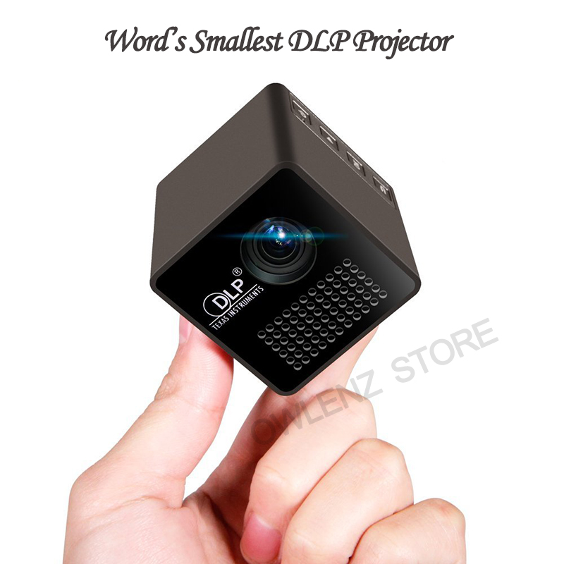 Mini cube dlp led projector rechargable portable pocket for Top rated pocket projectors