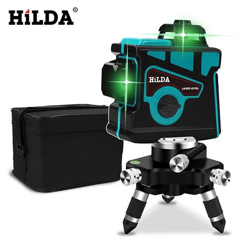HILDA лазерный уровень 12 линий 3D уровень самонивелирующийся 360 горизонтальный и вертикальный крест супер мощный зеленый лазерный уровень - Цвет: SET1