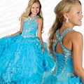 Sparkling Pageant Vestidos Para Meninas Glitz Halter Frisada de Cristal Vestido Vestido de Princesa Crianças Vestidos de Noite Vestido Daminha casamento