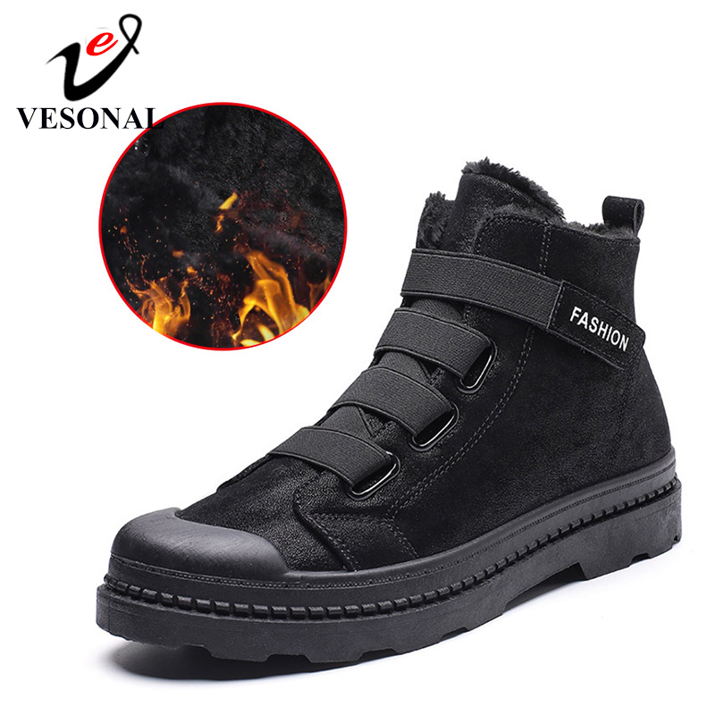 VESONAL Shoes Snow-Boots Men Sneakers Rubber Ankle Male Winter Casual Fashion with Fur