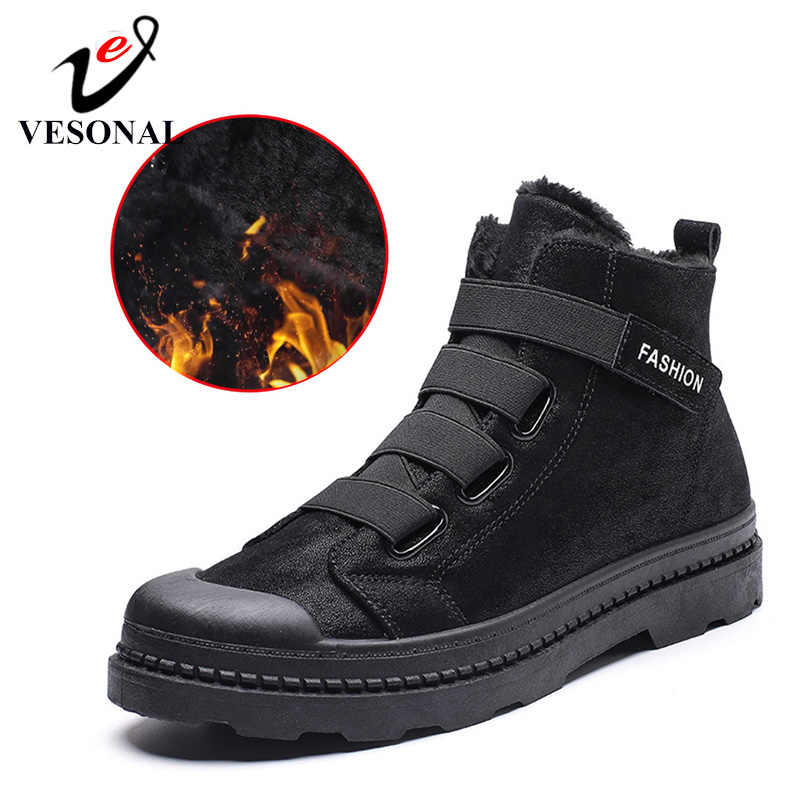 VESONAL 2019 Fashion Winter With Fur Snow Boots For Men Sneakers Male Shoes Adult Casual Quality Rubber Ankle Warm Boots