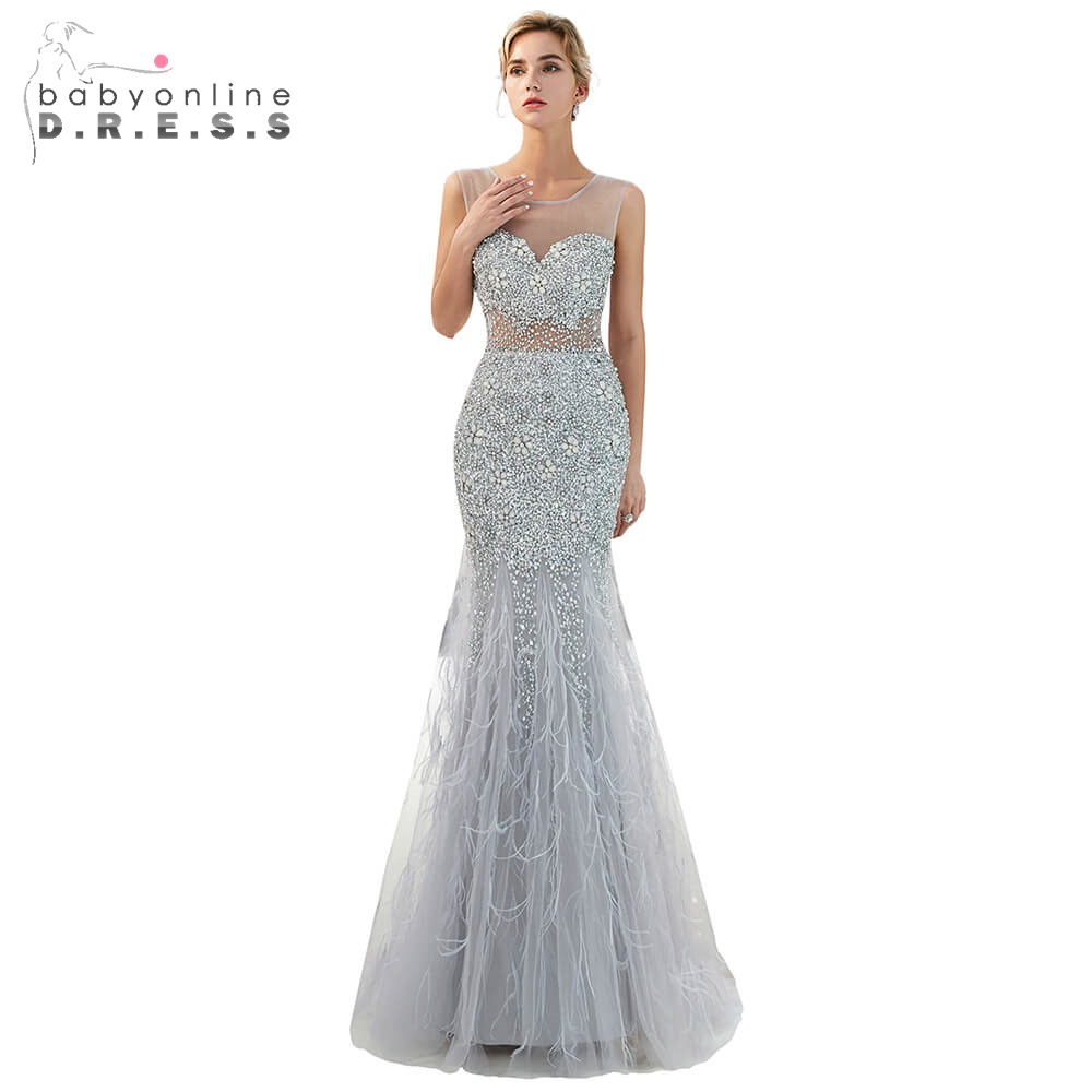 Gorgeous Beading Crystal Long   Prom     Dresses   2019 Elegant Gray Backless   Prom   Gown Illusion Feathers Party   Dress   Vestido De Festa