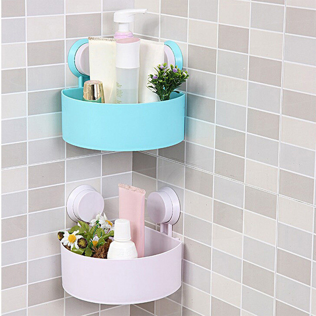 New Lovely Bathroom Corner Storage Rack Organizer Shower Wall Shelf With Suction Cup 72193
