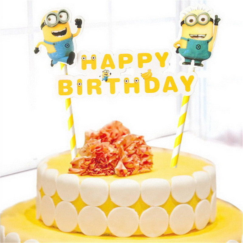 despicable me minion decoration cupcake toppers baby kids children minions party supplies topper happy birthday flag cake topper in Cake Decorating Supplies from Home Garden