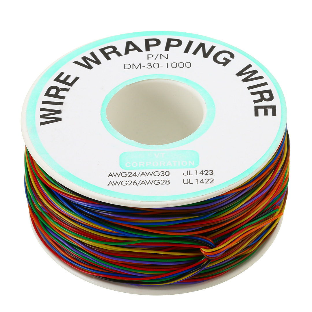 1PC 30 AWG Wrapping Wire 0.25mm Tin Plated Copper Wire Wrap Insulation Testing Cable 8-Colored for PCB Soldering Fly Line 1pcs ok line 0 5mm 30awg wire wrapping wrap flexible insulation tin plated jumper cable 1000ft pcb flying jumper wire