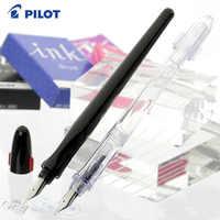 1PCS Studenten Luxus Penmanship Brunnen Pen & Sac Japan Pilot Kalligraphie Stift Ergo Grip Extra Feine NibClear/Schwarz körper FP-50R