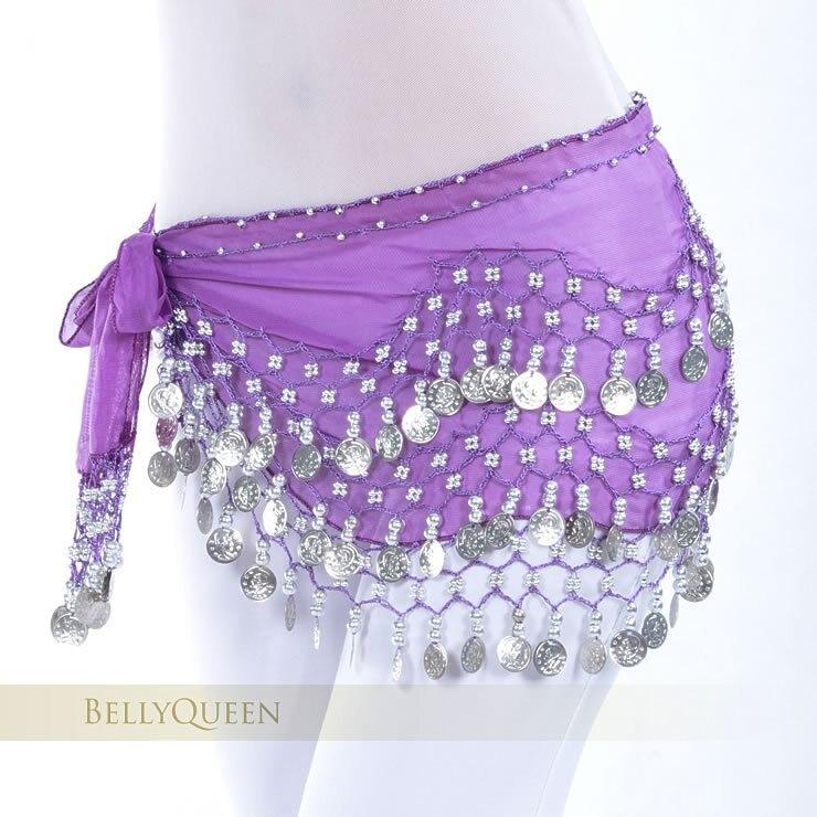158 Gold Coins Women/'s Belly Dance Hip Scarf Skirt Wrap Chiffon Sequins Beads