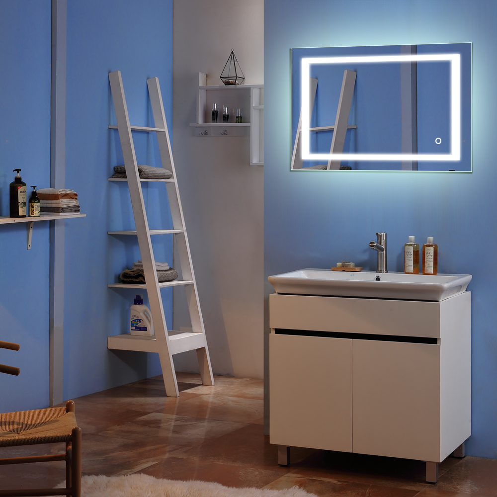 Square Wall Mount Bathroom Makeup Mirror Silver Aluminum Touch Screen LED Bathroom Vanity Mirror Lights with Magnifying Mirror 3