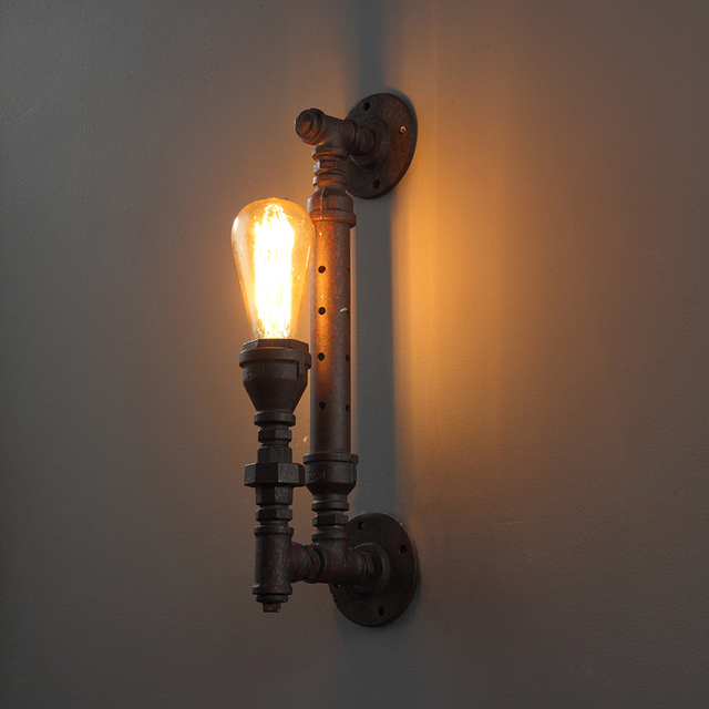 Vintage Country Style Wall Lamps Industrial Bedside Wall Fixtures Antique Pipe Wall Sconce Rust Color Loft Wall Lights E27