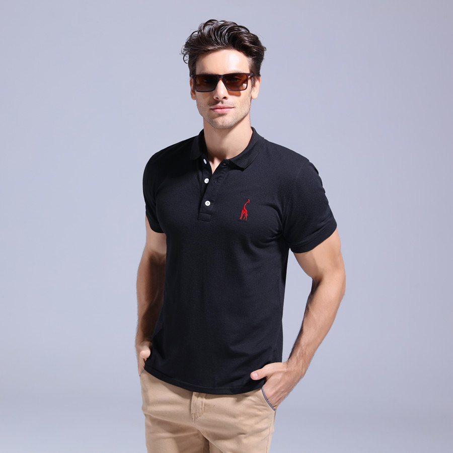 GustOmerD 2019 Brand Quality Cotton Polo Shirt Men Solid Slim Fit Short Sleeve Polos Men Fashion Giraffe Embroidery Men's Polo