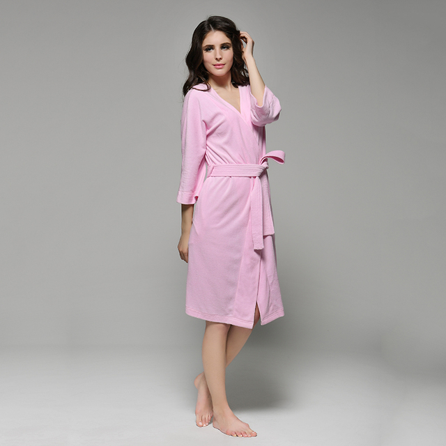 36ce30d575 Men and Women 100% Cotton Terry Towel Water Absorption V-Neck Bathrobe Robe  Lounge