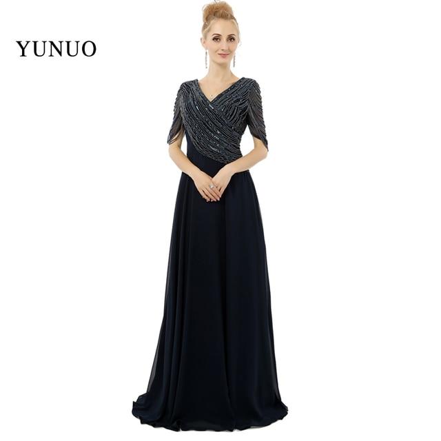 ce77e6733 العرف زائد حجم طويلة سوداء prom ثوب أنيق المحدبة الرقبة سطر الأمهات فساتين  الصورة الحقيقية الرسمية