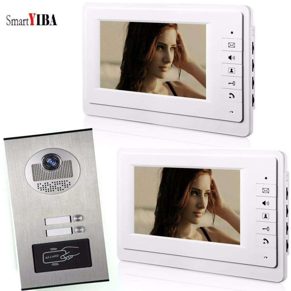SmartYIBA 7'' RFID 2Units Apartments Home Intercom LCD Color Screen For House/Flat +IR Night Vision Camera