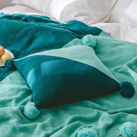 Deux Couleur Couture Tricoté Housse de Coussin avec Balle Pompons En Tricot Taie d'oreiller Nordique Canapé Voiture Jeter Taie D'oreiller Photographie Props