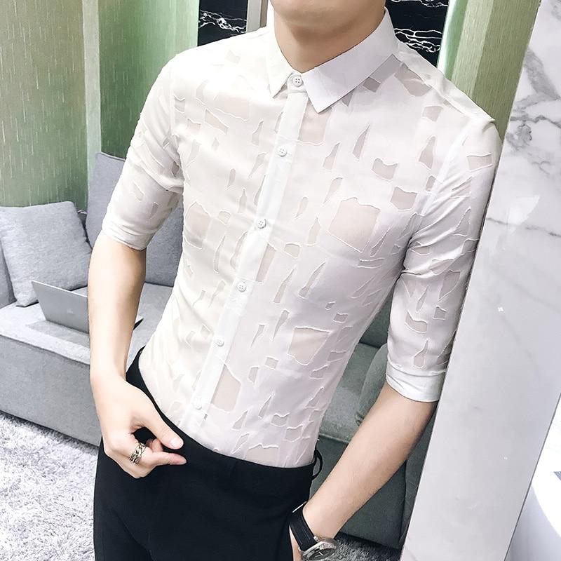 Sexy Hollow Tuxedo Shirt Summer Fashion Designer Slim Fit Mens Social Shirts Half Sleeve Casual Simple Hairstylist Work Shirts