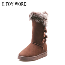 E TOY WORD Women Warm Winter Snow Boots Mid-Calf button plush boots Flat Shoes High Quality Round Toe Casual