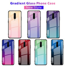 For Oneplus 7 Pro Case Gradient Plastic TPU Silicone Frame + Tempered Glass Case For One plus 7 Pro Colorful Luxury Back Cover