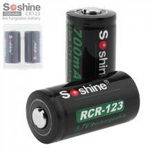 4 Pieces Soshine Li-ion 700mAh 3.7V 16340 Rechargeable battry Lithium Li-ion CR123A Battery +2 Batteries Case Storage Box