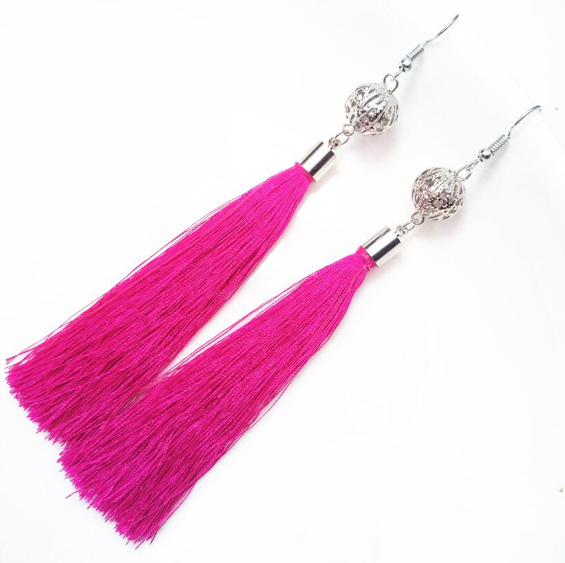 Tassel Drop Round Earrings For Woman Love Hollow White Color Ball Dangle Earrings For Women Gifts