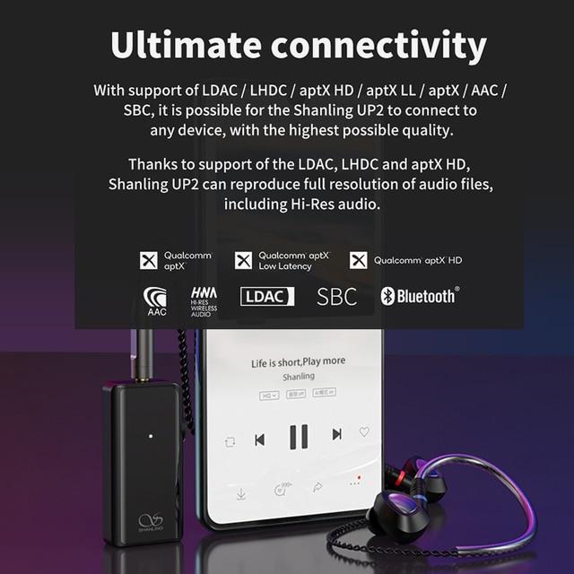 SHANLING UP2 ES9218P Hi-Res Portable HiFi Audio Bluetooth Amplifier USB DAC Knowles Microphone support LDAC/aptX HD/SBC/AAC HWA 3