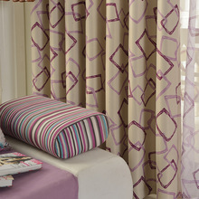 Modern and Simple style Cube shading cloth curtain geometric printing curtains for bedroom and living room