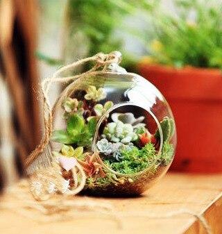Hot Selling! 2pcs/lot 12CM Multi-use Landscape Ball Shape Glass Vase Succulent Plant Vase Wedding & Home Decoration F1027