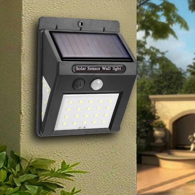 20 30 נוריות שמש נטענת LED שמש אור הנורה חיצוני גן מנורת קישוט PIR תנועת חיישן לילה אורות עמיד למים