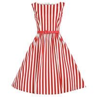 Summer Women Dress Retro Swing Stripe Audrey Hepburn 50s Vintage Robe Rockabilly Casual Ball Gown Dresses