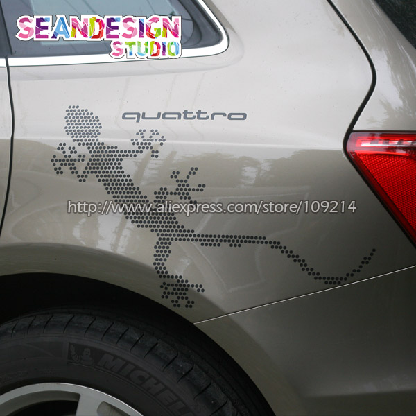 For Audi gecko audi 30 years of quattro Decal Sticker PVC(black,white,red,Gray ,Reflective Silver ,Matte Gold colour) audi coupe quattro купить витебск